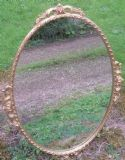 Oval Gilt  & Carved Hanging Wall Mirror